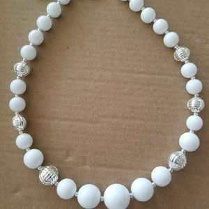 18 inch White with silver beaded necklace